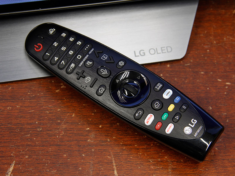 The Magic Remote that comes with this WebOS TV supports voice recognition and has dedicated keys for Netflix and Amazon Prime Video.