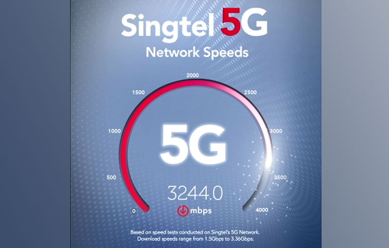 Mock-up of speed test conducted by Singtel. Source: Singtel.