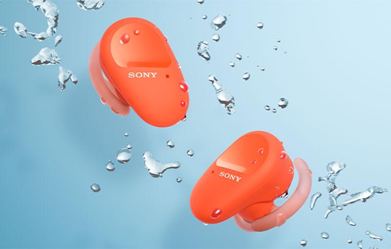 SonyWF-SP800N true wireless earbuds.