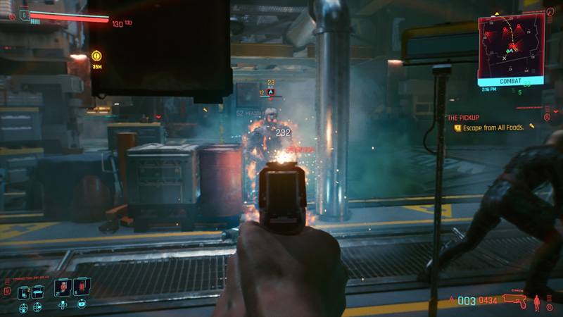 Shooting in Cyberpunk feels punchy and satisfying, whereas melee combat feels crude and unpolished.