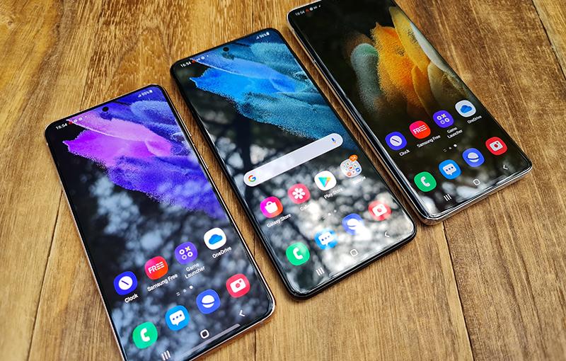 The Samsung Galaxy S21 series.
