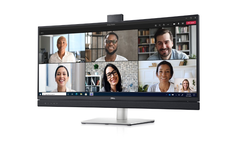 How the Dell 34 Curved Video Conferencing Monitor looks at work. Image courtesy of Dell.