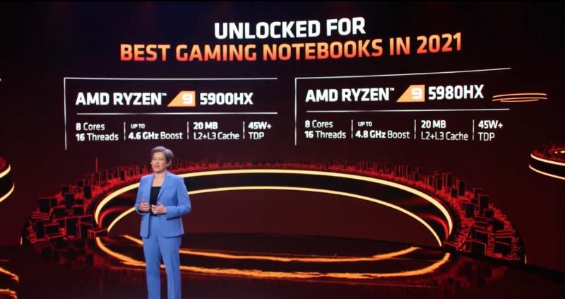 For demanding gamers, there's the Ryzen 9 5900HX and Ryzen 9 5950HX.