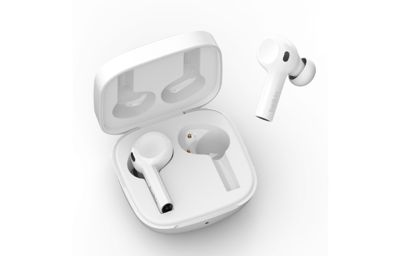 They have three different sized eartips for a comfortable fit. Image courtesy of Belkin.