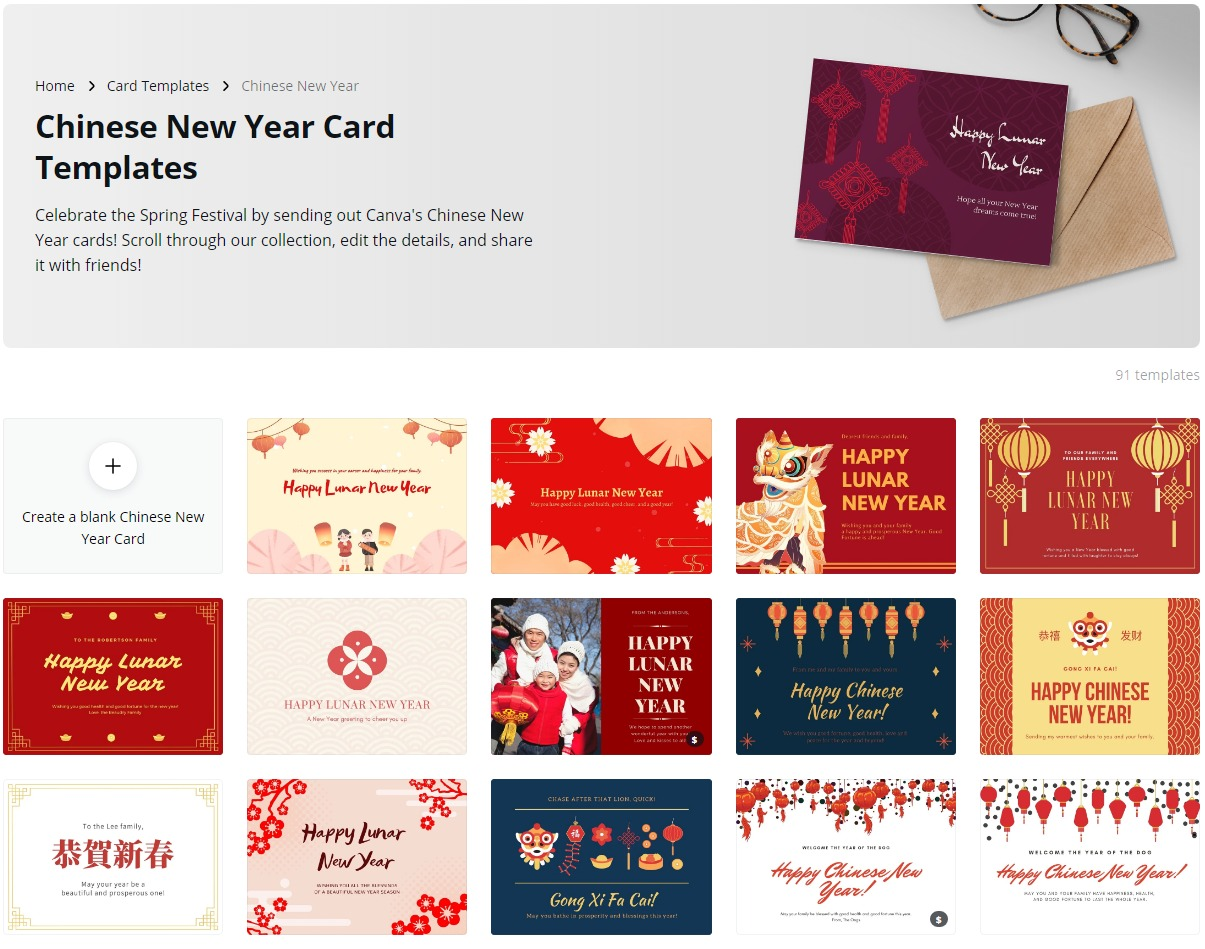 Canva has 91 templates to choose from - go wild.