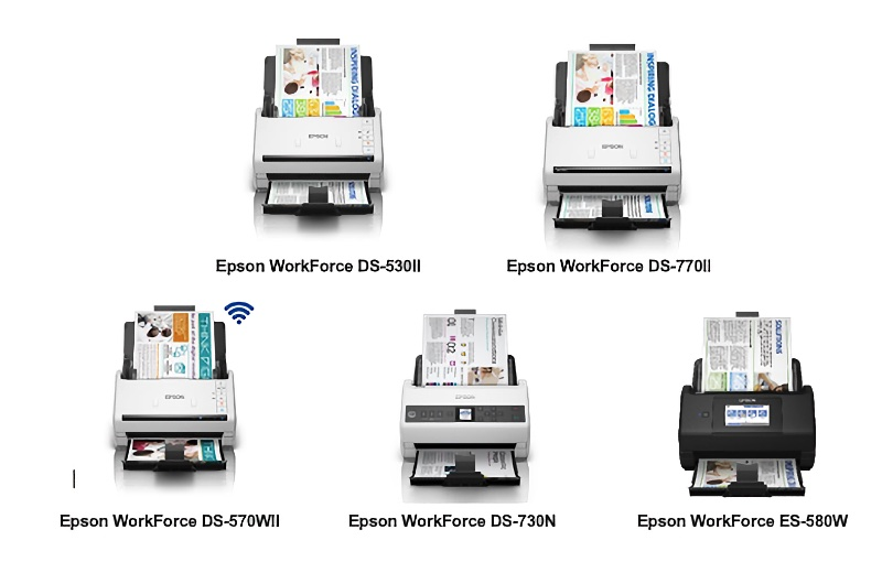 The five business scanners. Image courtesy of Epson.