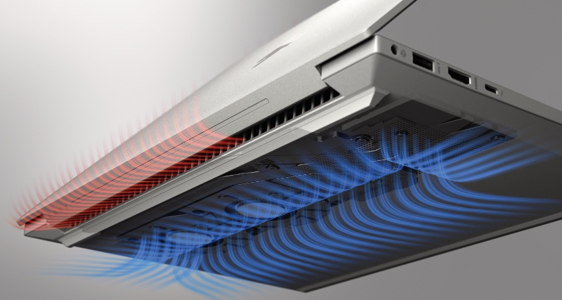 The thermal system draws cool air from under the notebook and expels it through the rear. (Image source: HP)