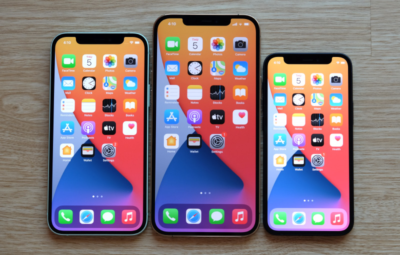 From left to right: iPhone 12, iPhone 12 Pro Max, and iPhone 12 Mini.