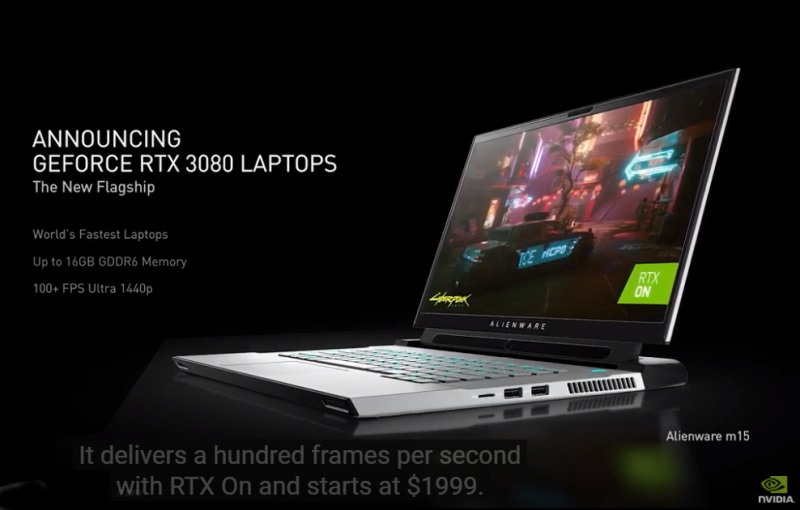 The top of the line RTX 3080 GPU for mobile will be available in notebooks starting from US$1,999, such as the Alienware m15 featured in this slide.