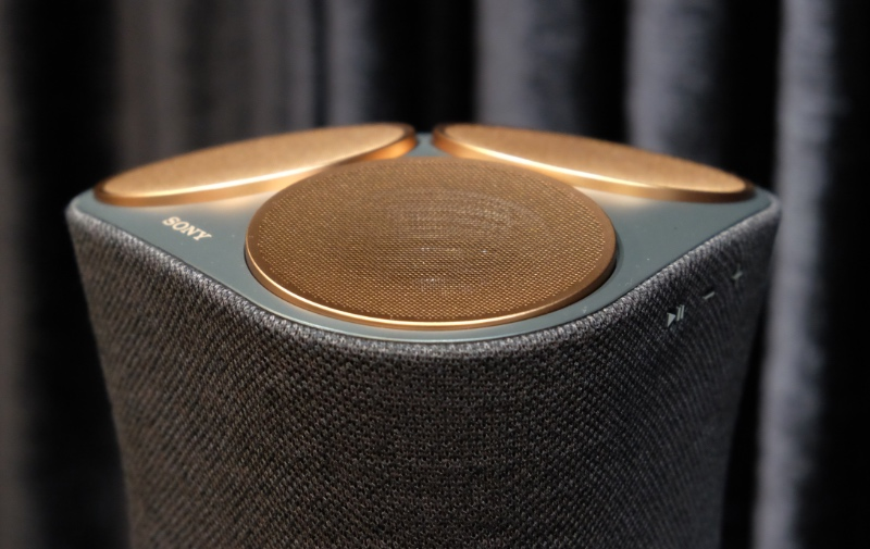 The SRS-RA5000's upward-firing speakers resemble an electric shaver.