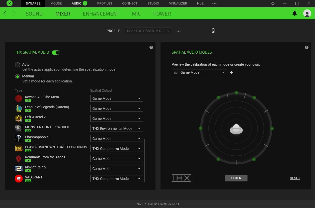 Special THX Game Profiles present within Razer Synapse 3 software.