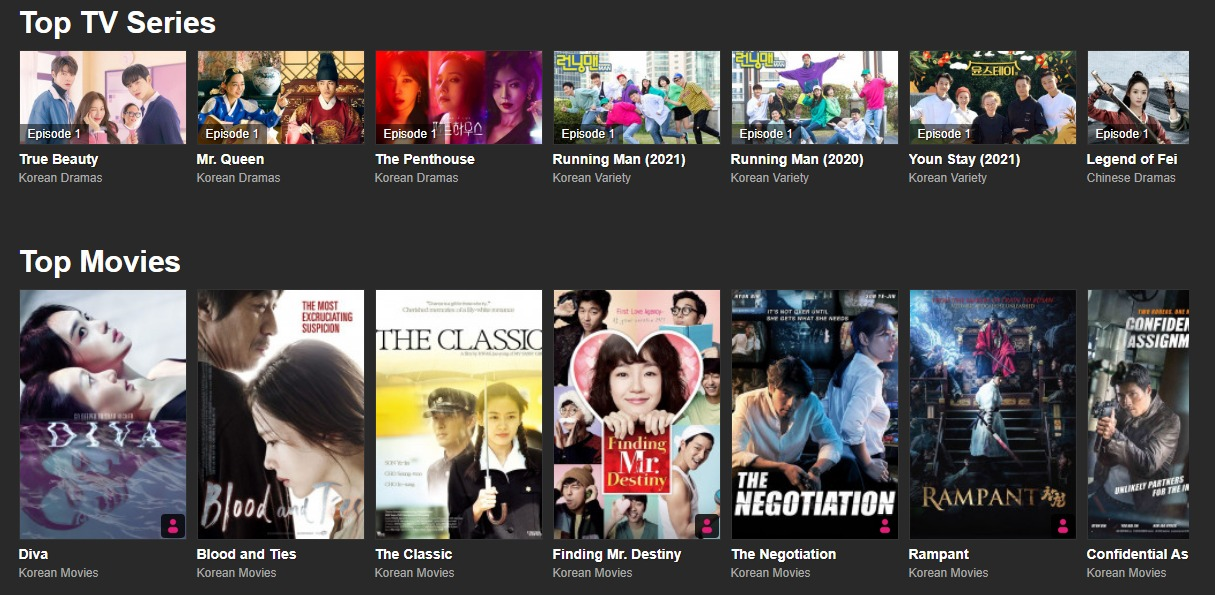 Viu - streaming site for East Asian shows and dramas.