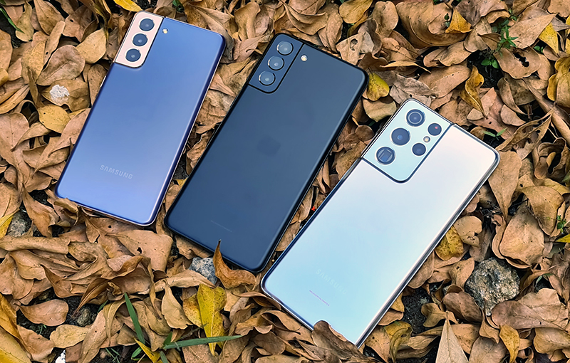The Samsung Galaxy S21 lineup.