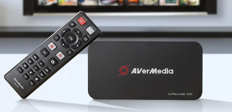 AverMedia's new external capture card, the EzRecorder 330 with a remote controller for controlling the card.