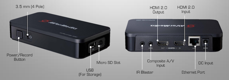 Input and output ports for the AverMedia EzRecorder 330