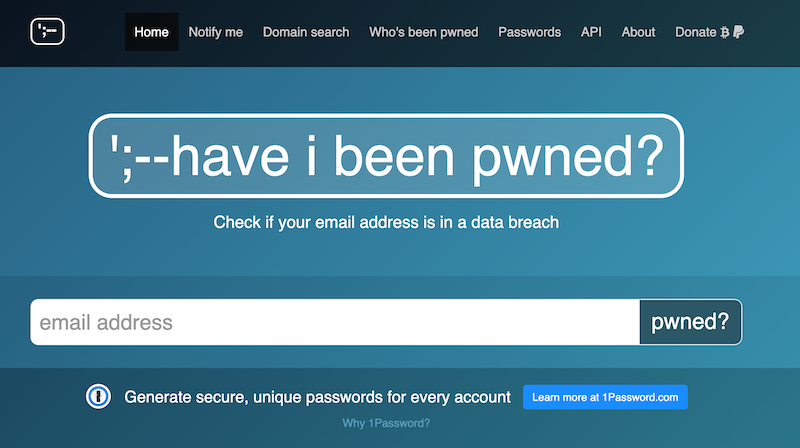 Homepage for haveibeenpwned.com