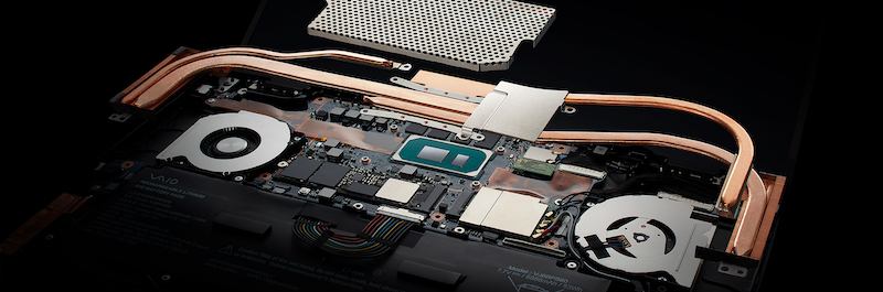 The Vaio Z's internals, showing the fan, heat pipes and other electrical components.