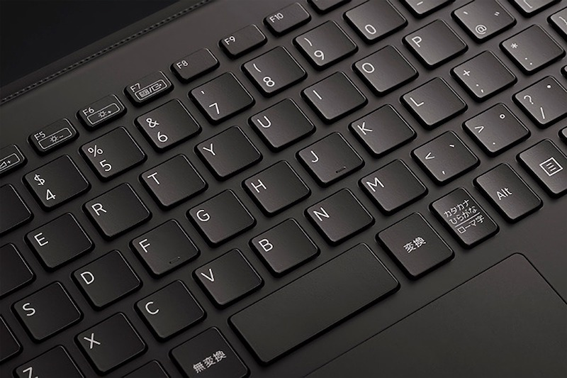 Close-up of the Vaio Z's keyboard with showcases the font and curved keycaps.