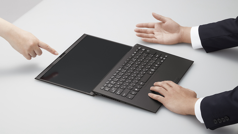 The Vaio Z's screen lying horizontally flat on the table.