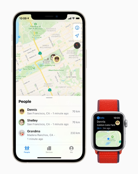 Family Setup can help users keep track of their family members' location. (Image source: Apple)