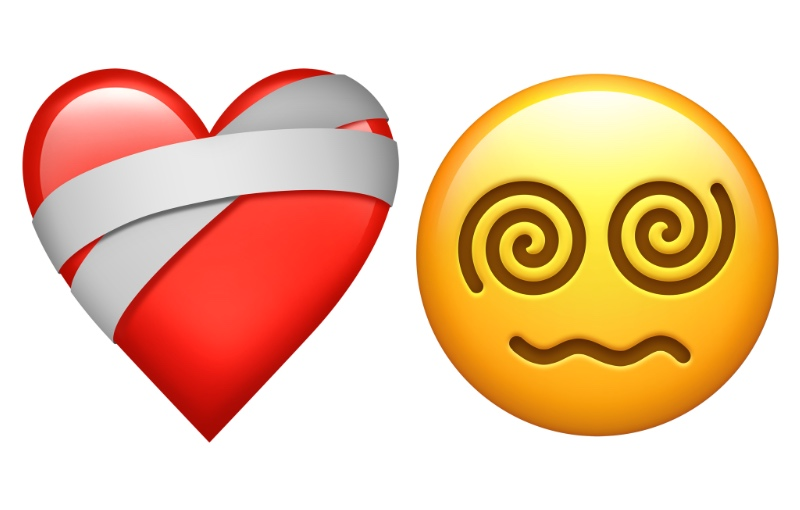Mending heart and face with spiral eyes. (Image source: Apple)
