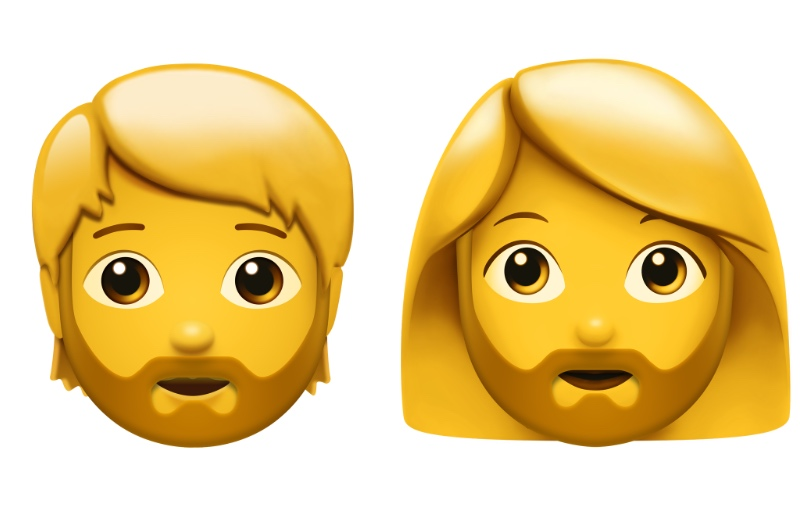 Person with beard and woman with beard. (Image source: Apple)