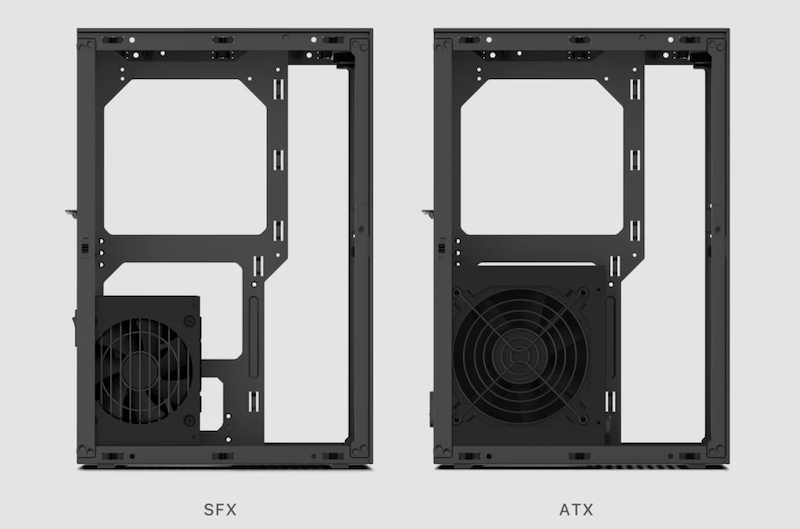 Side view of the Meshlicious case which can house an SFX or ATX power supply.
