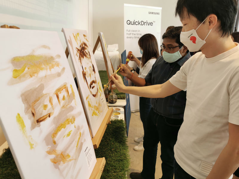 """During a press launch event, we were told to """"paint"""" on pieces of cloth using common foods and condiments such as soy sauce, red wine, mustard, ketchup and chocolate milk."""