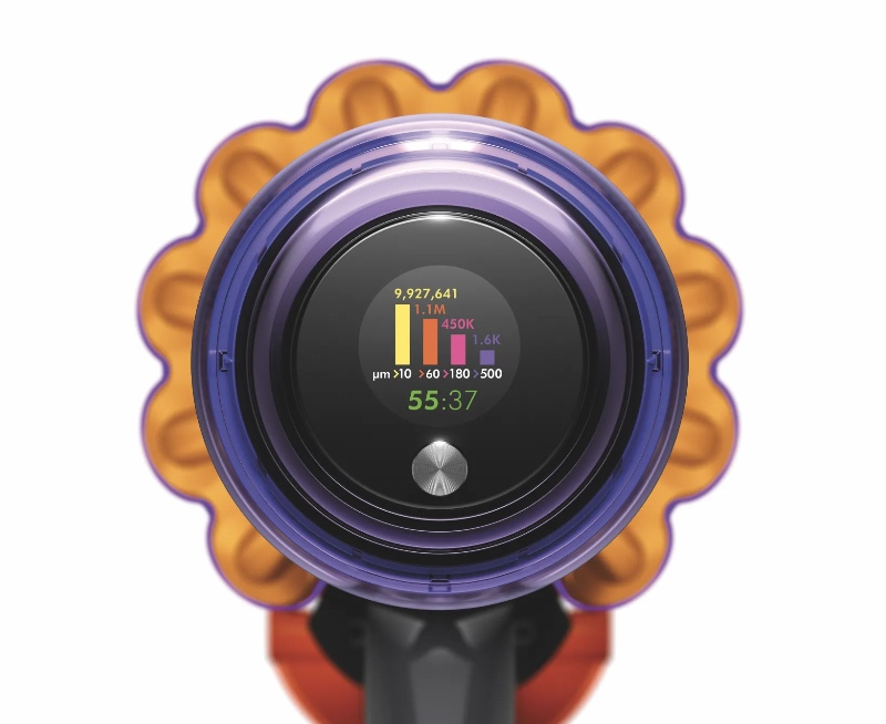 A LCD screen shows just how dirty your floor is. (Image source: Dyson)