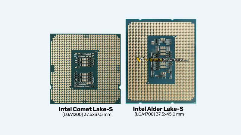 Comparison of CPU sizes between Intel Comet Lake-S and Alder Lake-S