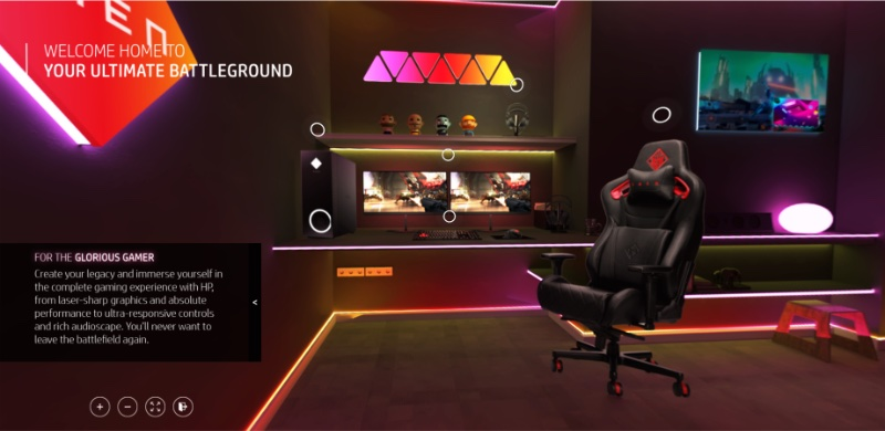 Customers can choose from a range of personas to see the products available. This is the Glorious Gamer room. Image courtesy of HP.