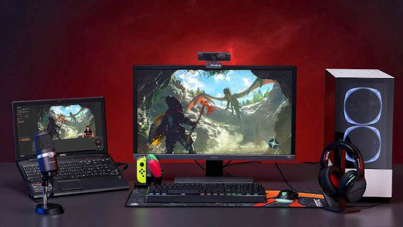 A typical streaming setup with the PW315 mounted on top of a monitor.