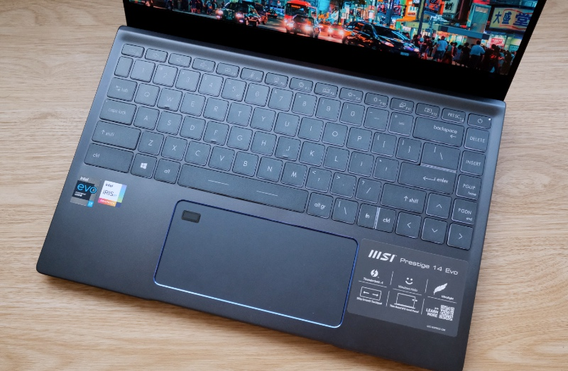 The keyboard has an additional column with navigational keys. You'll also notice the trackpad is very wide.