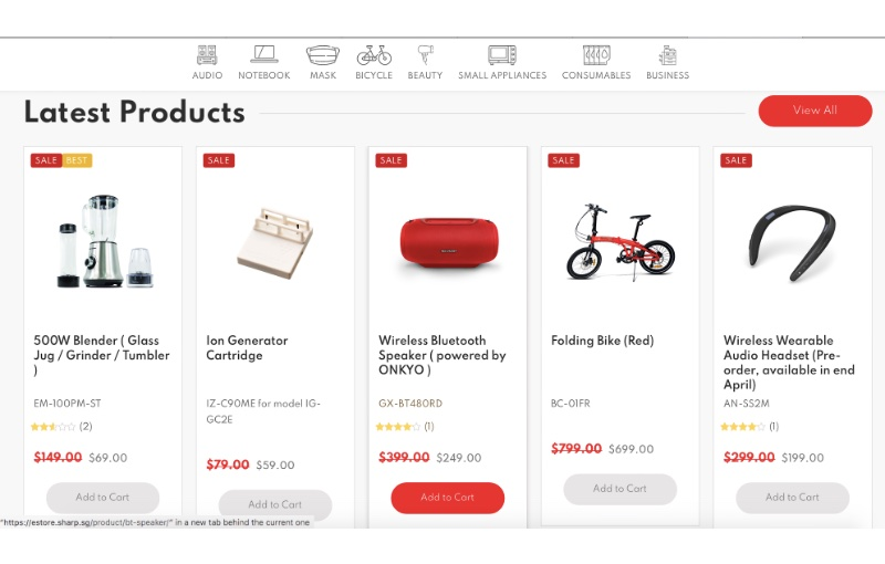 Shoppers can get online exclusives not available on other stores. Image courtesy of Sharp.