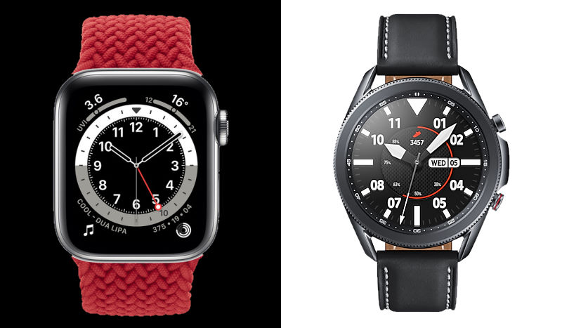 Apple Watch Series 6 and the Samsung Galaxy Watch 3.