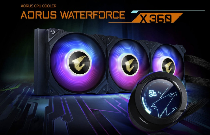 Meet the Aorus Waterforce X 360, an all-in-one liquid cooler with circular LCD Display, RGB Fusion 2.0, and triple 120mm ARGB Fans.