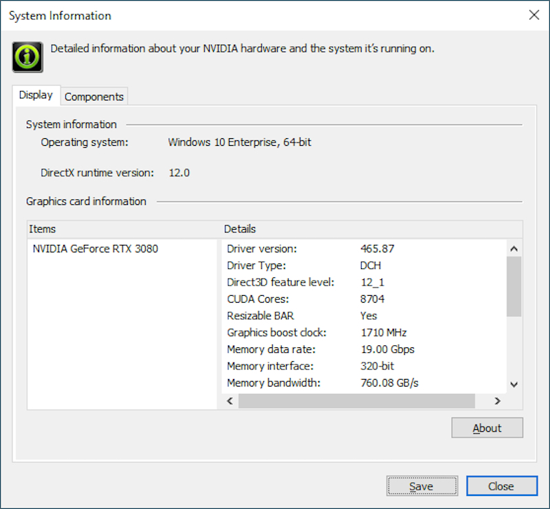 Screenshot of NVIDIA's firmware update to access Resizable BAR on compatible graphic cards