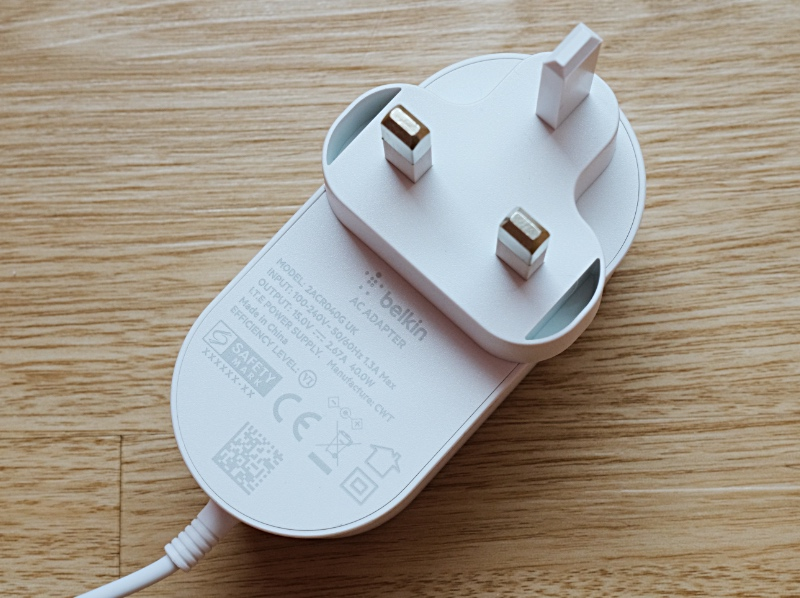 The charger comes with a 40W adapter.