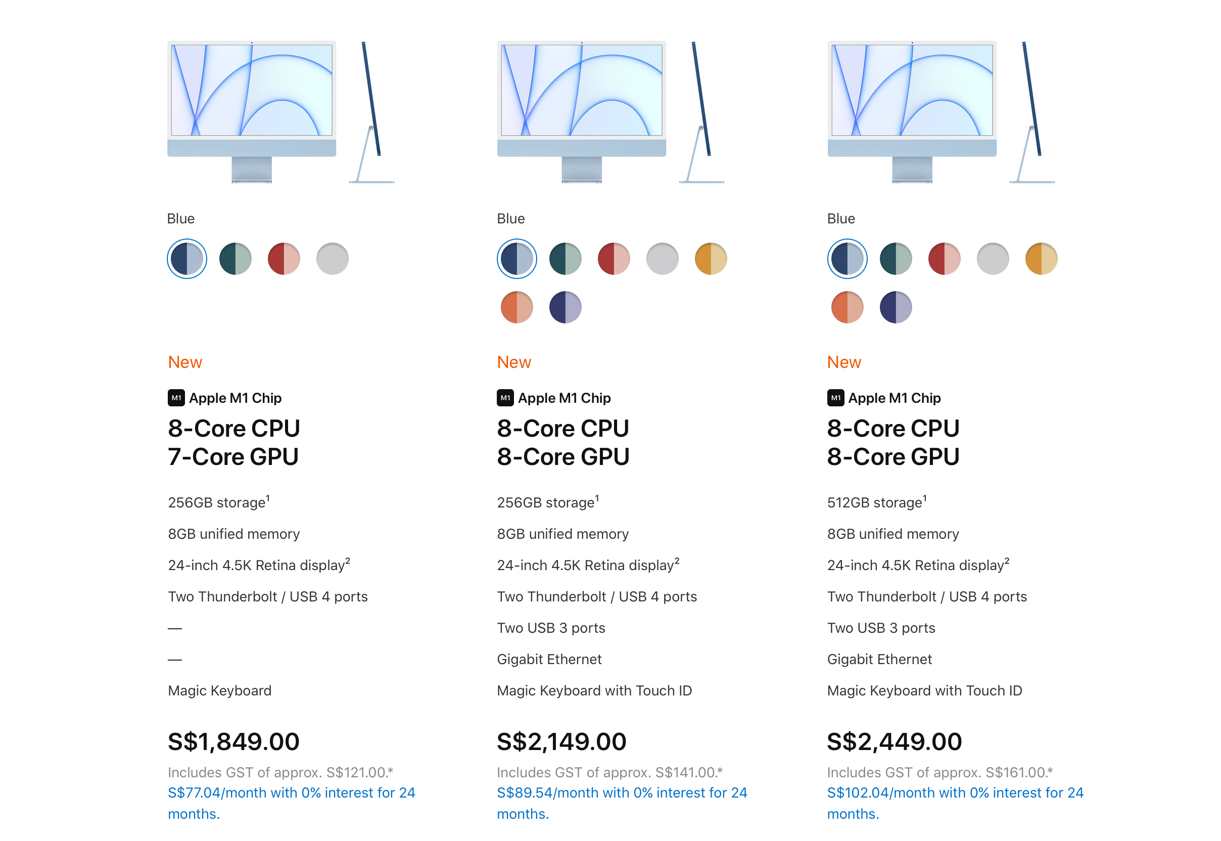 There are two iMac variants and three off-the-shelf configurations.