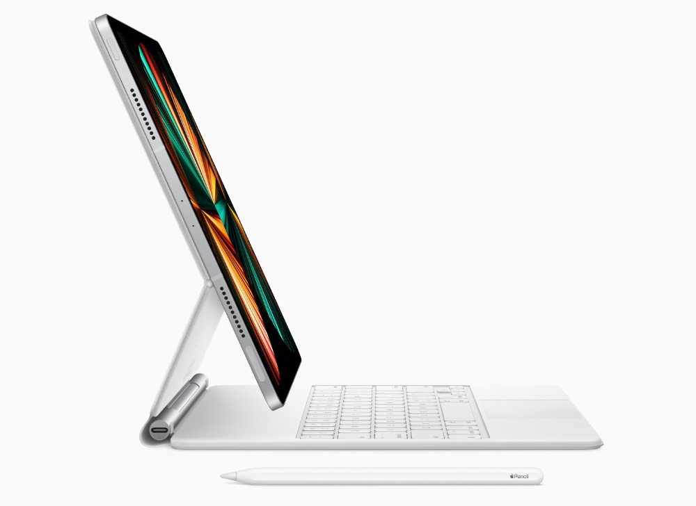 There's a new white Magic Keyboard for the iPad Pro to match your new silver iPad Pro. (Image source: Apple)