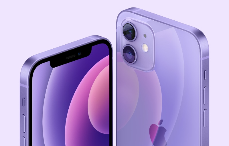 The iPhone 12 and 12 Mini gets a new purple finish. (Image source: Apple)