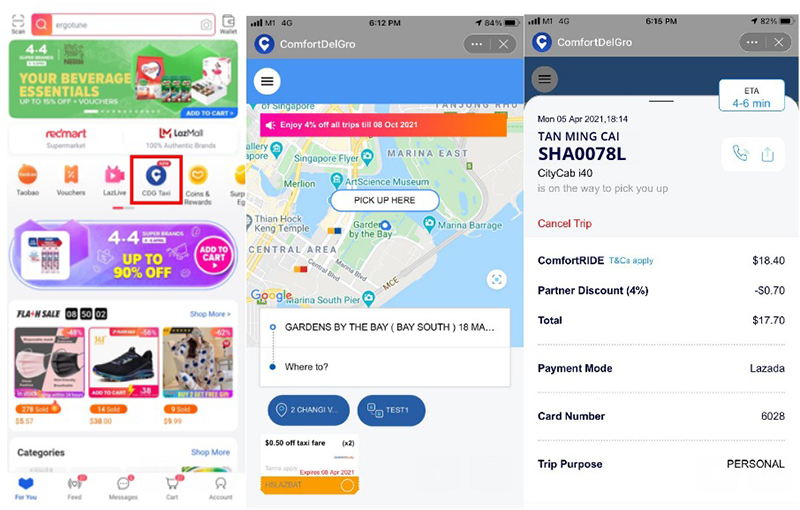 From Left to Right: Select the ComfortDelGro icon inside the Lazada app, and start booking. The interface is really similar to the actual ComfortDelGro app itself.