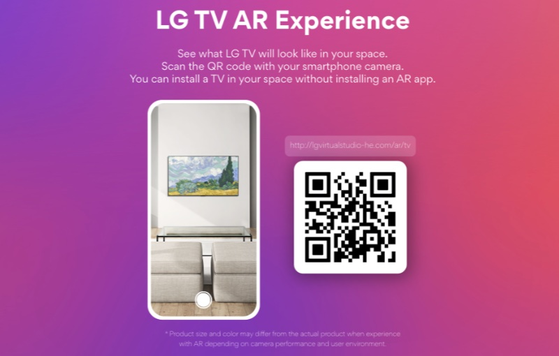 Scan the QR code to be taken to LG's VR experience.