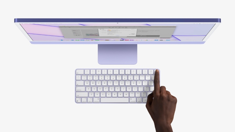 The new iMacs will come with colour-matched Magic Keyboards. (Image source: Apple)