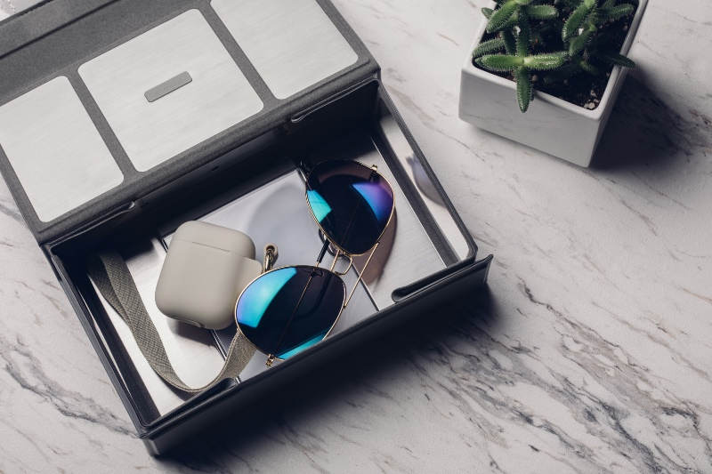 The Deep Purple UV sanitiser is capacious enough to accommodate larger items like spectacles and true wireless earbuds. (Image source: Moshi)