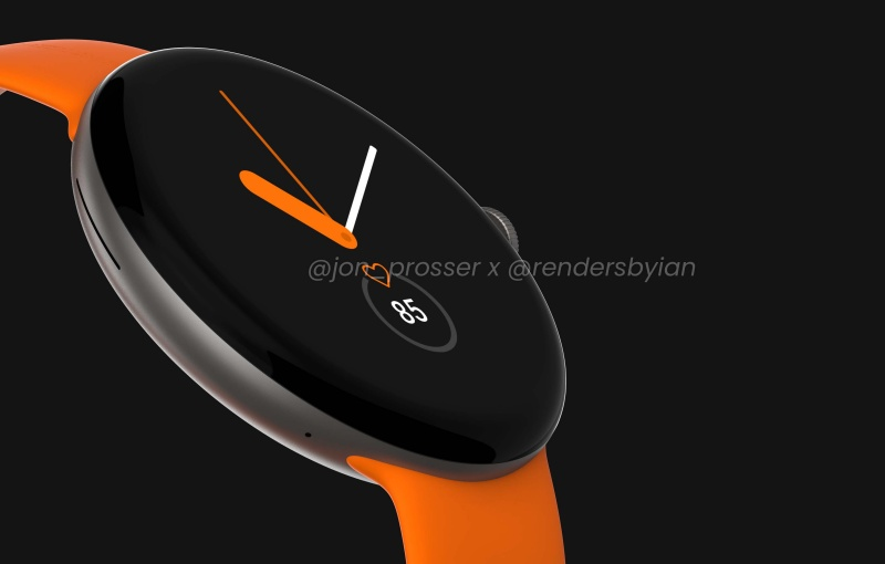 The Google Pixel Watch could be launched in October.  <br>Image source: @jon_prosser x @Rendersbylan