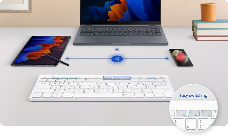 You can pair the Samsung Smart Keyboard Trio 500 with up to three different devices at the same time via Bluetooth. <br>Image source: Samsung