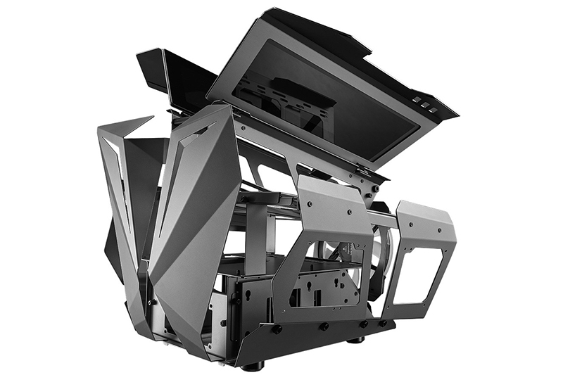 Rear side view of the case with the wings open, showcasing the innards where more PC components can sit.