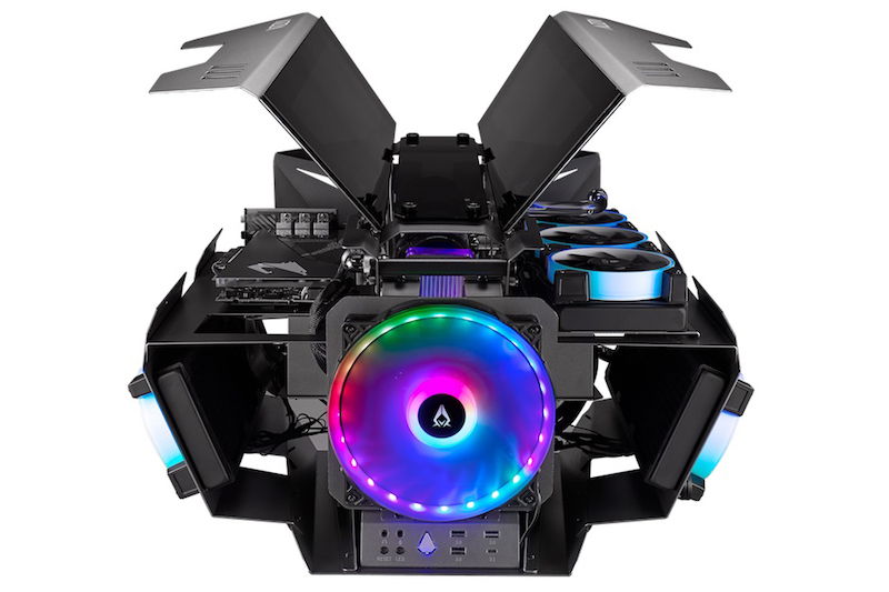 Azza's Overdrive showpiece case that features a pair of gull-wing covers on either sides of the case.