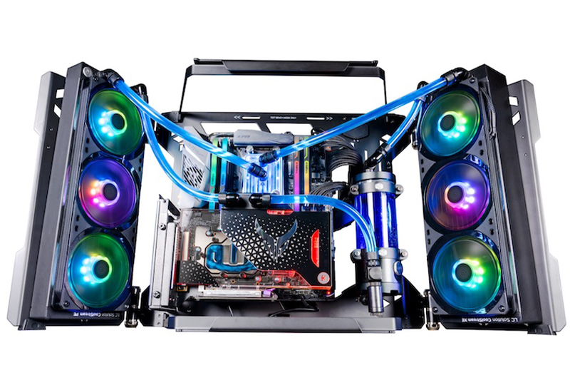 A complete custom-water cooling PC housed in Cooler Master's MasterFrame 700 case.